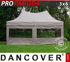 FleXtents Gazebi per Feste PRO Peak Pagoda 3x6m Latte, incluso 6 pareti…