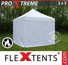 Gazebo pieghevole Xtreme 3x3m Bianco, Ignifugo, inclusi 4 fianchi