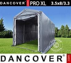 Capannone tenda PRO XL 3,5x8x3,3x3,94m, PVC, Grigio