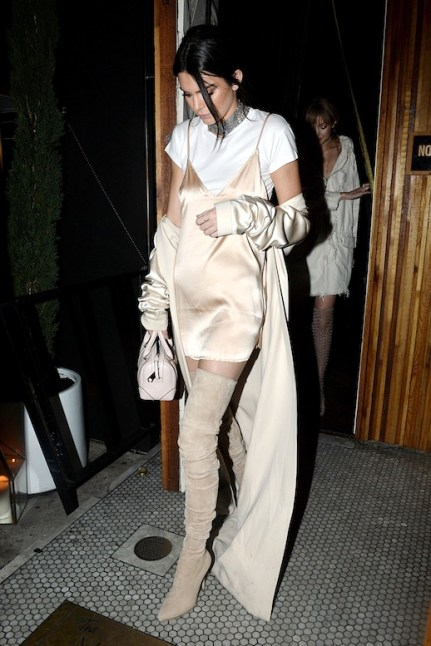 Le-Fashion-Blog-Street-Style-Kendall-Jenner-Sexy-Layered-Neutral-Look-Metal-Mesh-Choker-Blush-Silk-Dress-White-Tee-Cream-Duster-Coat-Pale-Pink-Mini-Bag-Suede-Over-The-Knee-Boots-Via-Ha