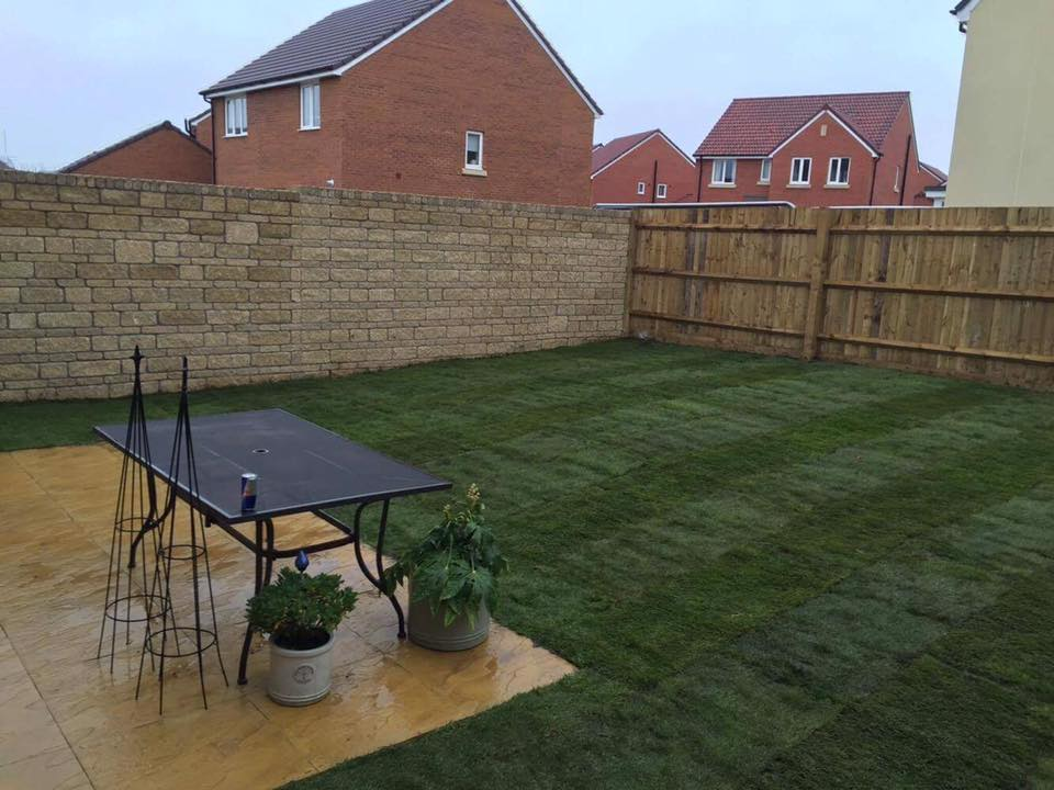 New lawn and patio, garden landscaping Trowbridge