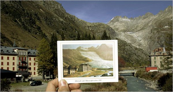 The Rhone glacier on a postcard from 1870 compared to reality in 2006