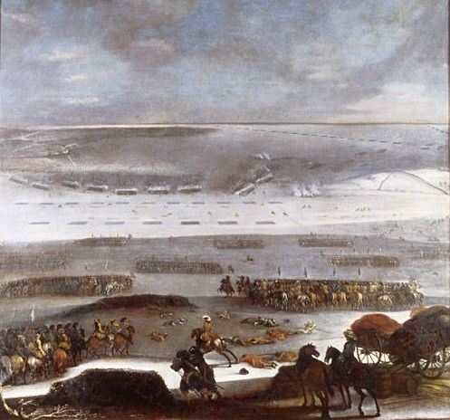 The Swedes go  over the ice 30. January in the winter 1658