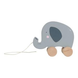 Jucarie elefant din lemn pentru tras