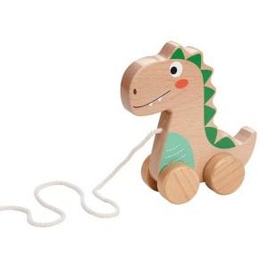 Jucarie din lemn cu roti si snur pentru tras Dinozaur pentru copii mici