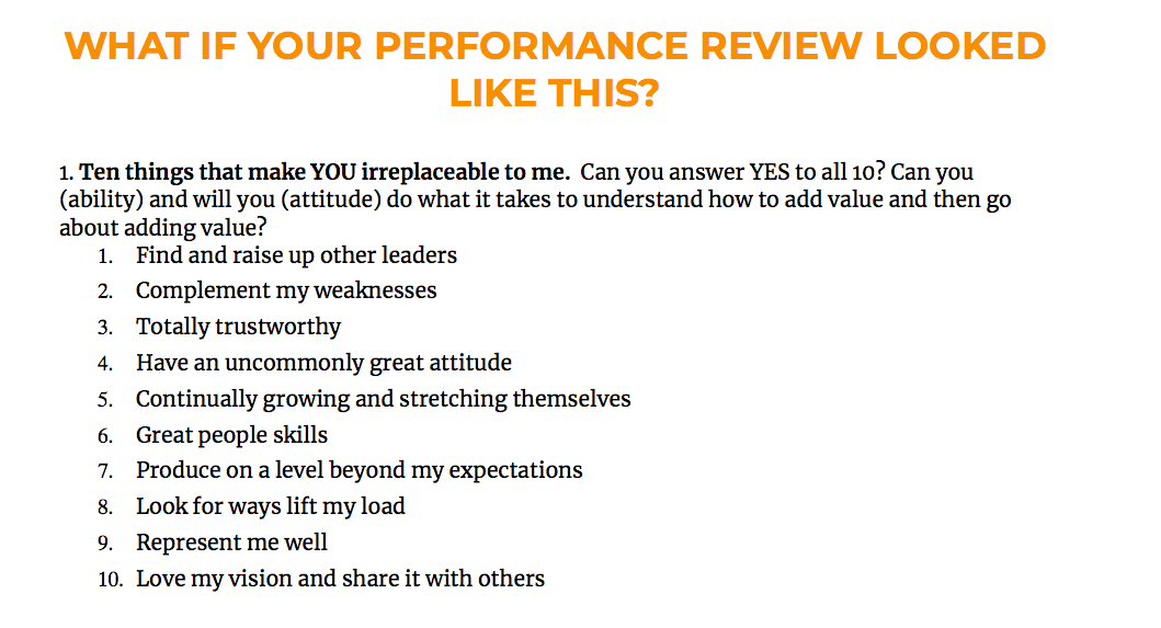sample of employee review