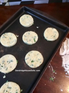 Place biscuits on a cookie sheet and bake.