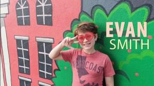 Evan Smith posing in funky glasses