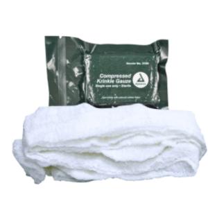 """3160 Dynarex Compressed Krinkle Gauze Bandage, Sterile, 4.5"""" x 4.1yd, 100/Case"""
