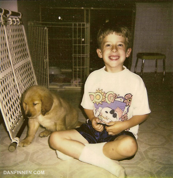 Me around the time I got my first pair of hearing aids. Also, a puppy thrown in for good measure.