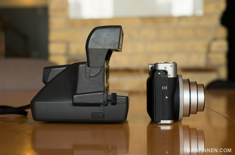 The Fuji Instax 90 is much, much smaller than a traditional Polaroid camera.