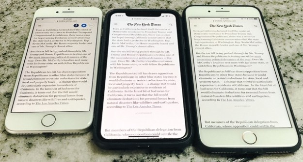The iPhone 8 (left), X (middle), and 8 Plus (right) showing the same NYT page.