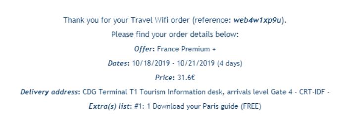フランス Travel WiFI レンタル時の代金(4日分)