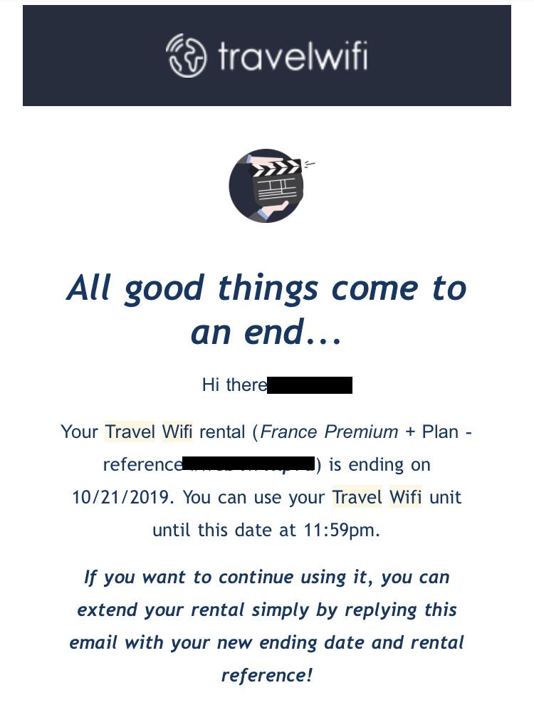 フランス Travel WiFI レンタル終了のアナウンスメール