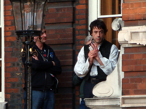 "RDJ on the set of ""Sherlock Holmes"""