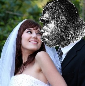 Compilation by Erich Vieth (creative commons neanderthal and dreamstime.com bride by Fouroaks