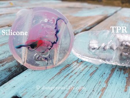 Clear silicone sex toys, even when the material is thin like the base of this Funkit dildo, are still more cloudy than transparent TPR