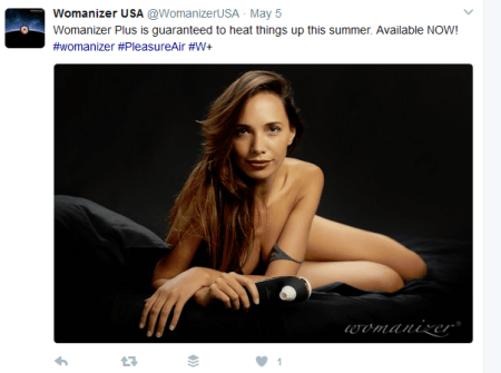 The only Womanizer + Size marketing image so far on social media shows a thin femme person