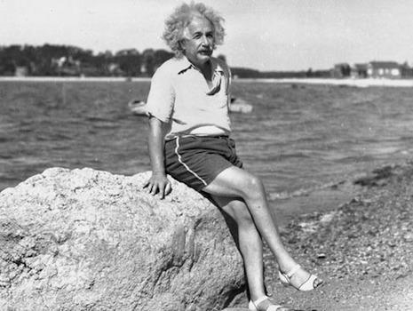 Albert Einstein at the beach, 1945