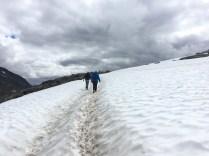 Wanderung durch den Schnee Anfang August