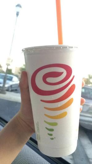 """Jamba Juice has the best and healthiest smoothies ever. I like the """"Mango a go-go"""" there."""
