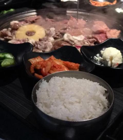 Korean BBQ at Gen located near Bella Terra. The side dishes are bomb! I am not sure if there's seafood there because I always forget to check. BUT, I do know that the meat there is gorgeous.
