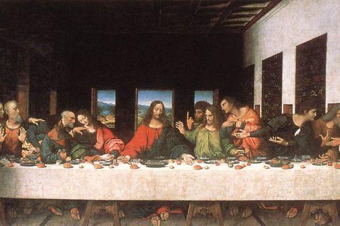 """Bức tranh sơn dầu """"Bữa tiệc ly"""" do Andrea Solari phục chế dựa theo tác phẩm của Leonardo da Vinci."""