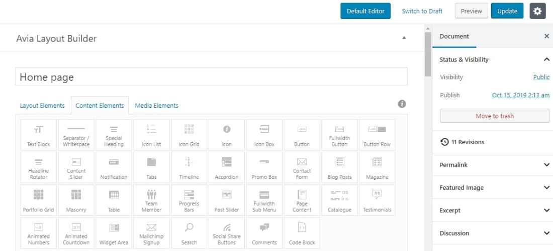 Avia page builder tích hợp trong Enfold theme