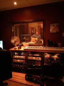 Duncan working on accoustic overdubs.