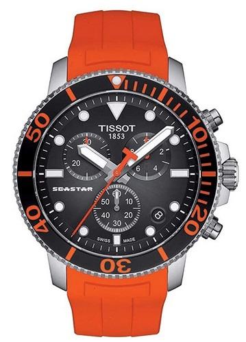 Tissot mens Seastar 660-1000 Stainless Steel Dive Watch Orange