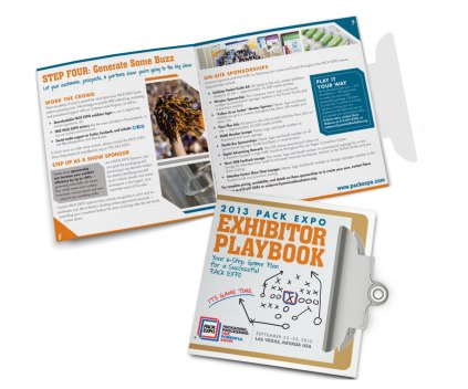 """2013. PMMI asked me to come up with a concept & a design for the exhibitor handbook for their 2013 PACK EXPO show in Las Vegas. The theme was a playbook, so I decided to go with a clipboard that would be full of """"game plans"""" for the exhibitors. The clipboard was die-cut and slipped into a slit on the front to keep the booklet closed. PMMI and their exhibitors alike were incredibly pleased with the result. See more here."""
