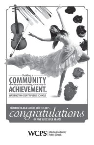 2014. The Washington County Board of Education asked us to design an ad for the Barbara Ingram School for the Arts Spring Gala. I tried to incorporate every section of study that Barbara Ingrams offers its students.