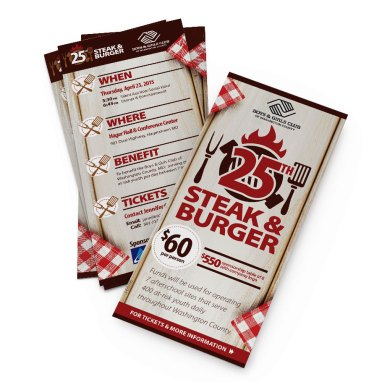 #10 envelope insert for the Boys & Girls Club's 25th Steak and Burger Event, on behalf of their sponsor, Antietam Cable. Designed as part of the team at Icon Graphics.