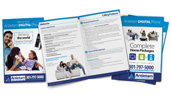 Digital phone booklet design for Antietam Cable's digital phone service, designed as part of the team at Icon Graphics.