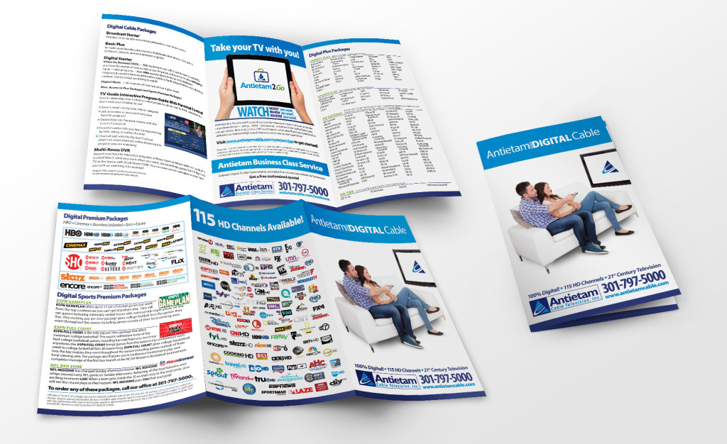 Antietam Cable's TV Packages brochure, designed as part of the team at Icon Graphics.