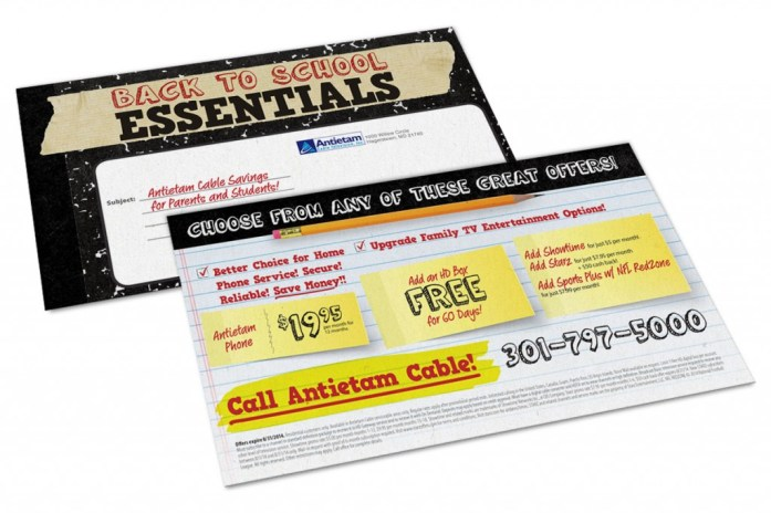Back to School postcard design for Antietam Cable, as part of the team at Icon Graphics.