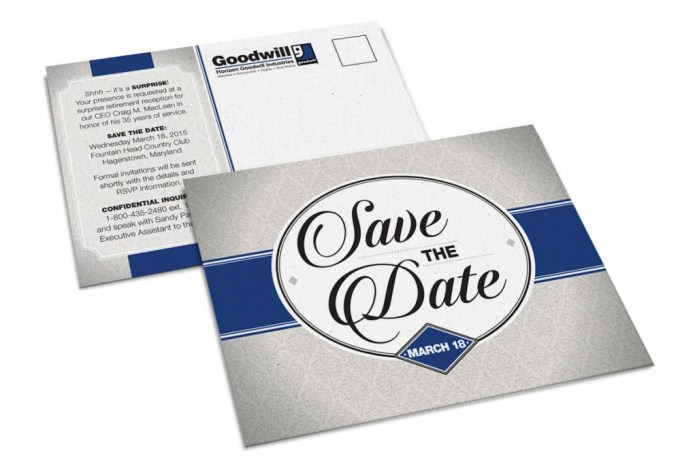 A save the date card for the retirement party of Horizon Goodwill's CEO, designed as part of the team at Icon Graphics.