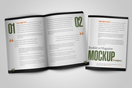 Created from scratch, an open spread and a magazine cover for use mocking up items for your portfolio or a client presentation.
