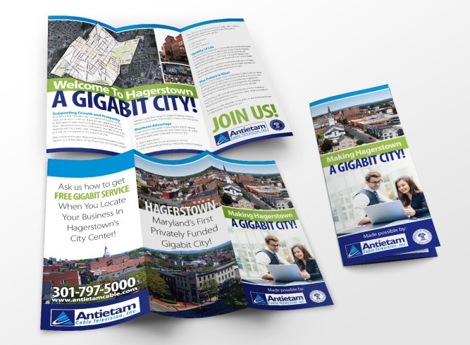 2016. Brochure design for Antietam Cable in cooperation with the City of Hagerstown, as part of the team at Icon Graphics.