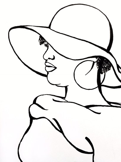 A line-drawing of a fat woman of colour in profile, wearing a large floppy hat, large hoop earrings, and a heavy shrug asymmetrically draped across her shoulders.