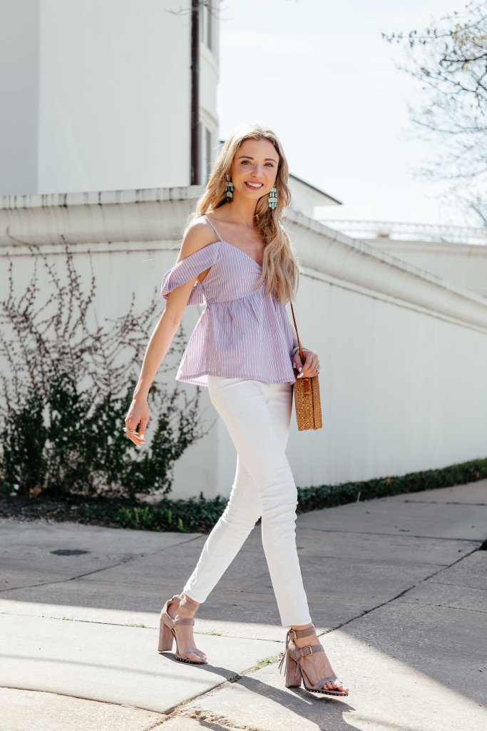 white skinny jeans heels outfit