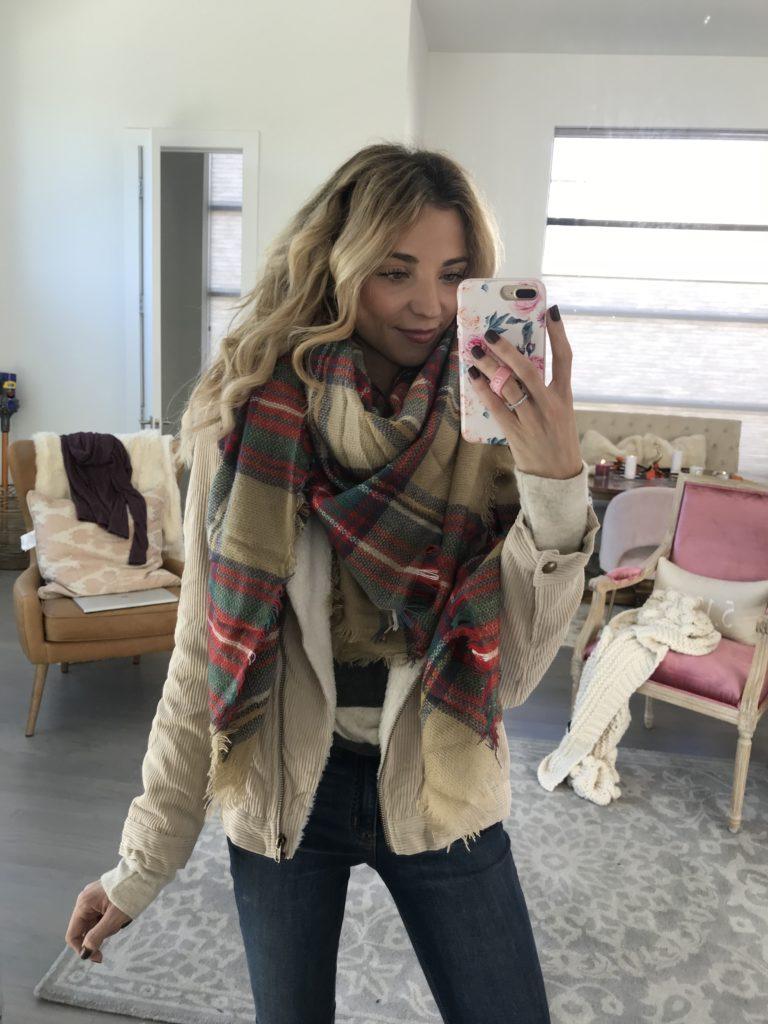 dani austin vici collection plaid scarf