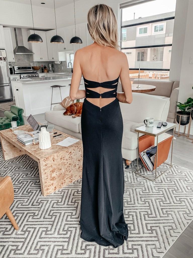 la femme black gown