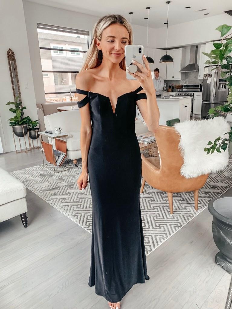 dani austin off the shoulder black dress