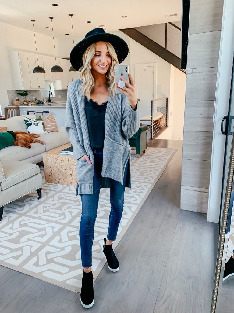 gray cardigan black lace cami outfit