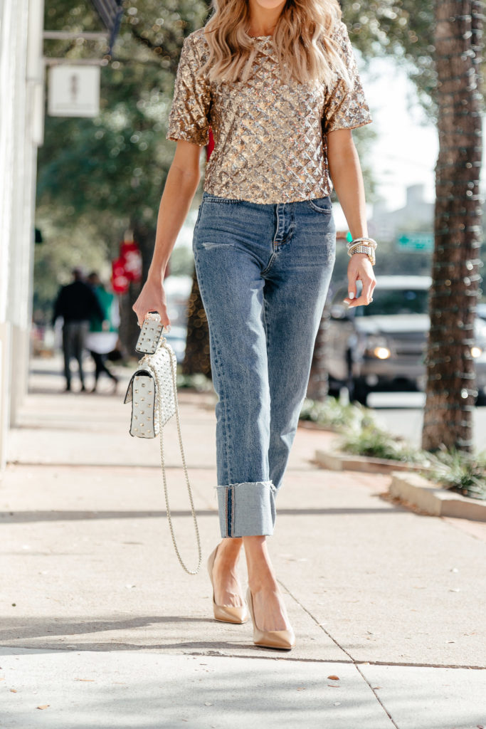 work life balance sparkly top cropped cuffed denim jeans