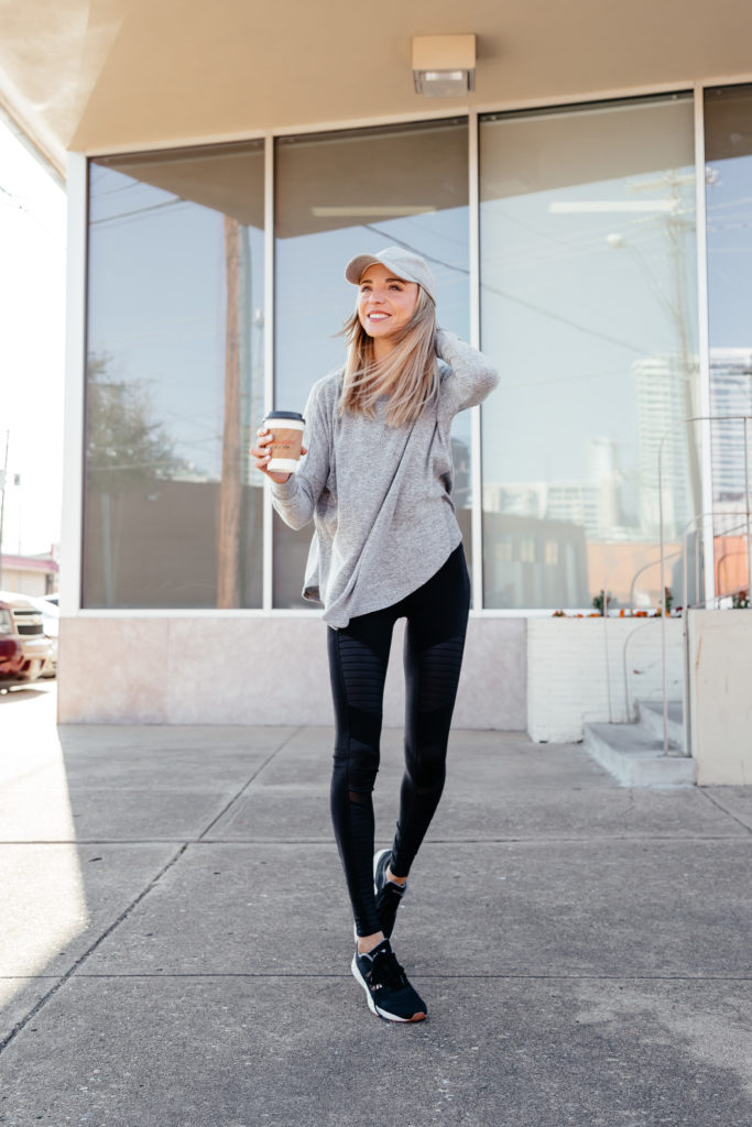 dani austin workout outfit black alo moto leggings
