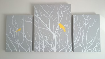 I got around to nearly finishing my canvases, and then hanging them anyway!