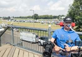 Daniel on a bridge overlooking Worcester racecourse