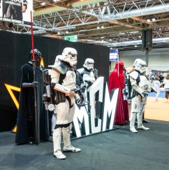 Imperial troops standing in front of the MCM logo at MCM Comiccon November 2019